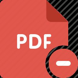 acrobat, adobe, delete, document, minus, pdf, remove icon