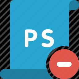 adobe, delete, minus, photoshop, psd, remove icon
