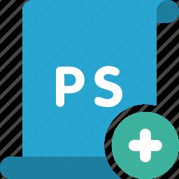 add, adobe, file, new, photoshop, plus, psd icon