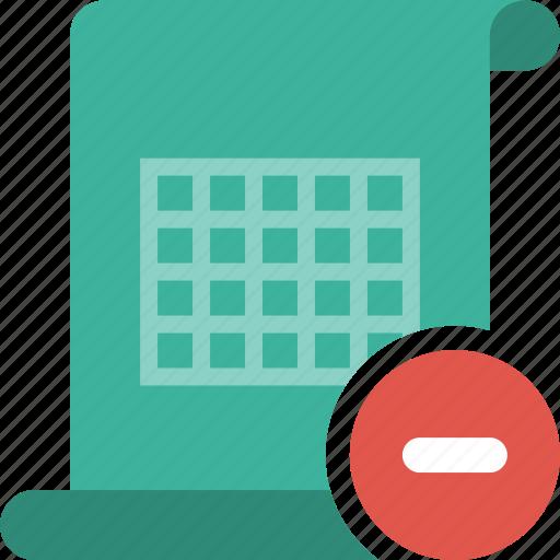 delete, document, excel, minus, remove, speadsheet, table, xls icon