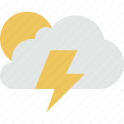 cloud, clouds, cloudy, lightning, rain, storm, sun, weather icon