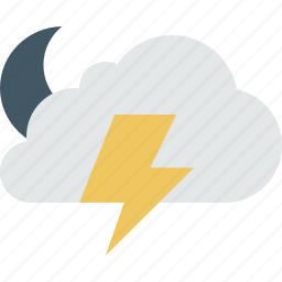 cloud, clouds, cloudy, lightning, moon, night, rain, storm, weather icon