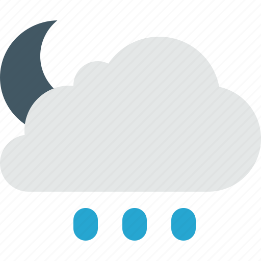 cloud, clouds, cloudy, moon, night, rain, sorm, weather icon