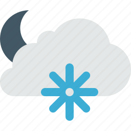 cloud, clouds, cloudy, lightning, moon, night, snow, weather, winter icon