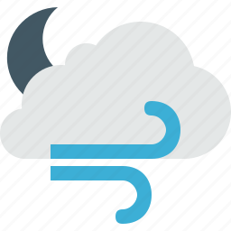 cloud, clouds, cloudy, moon, night, weather, wind icon