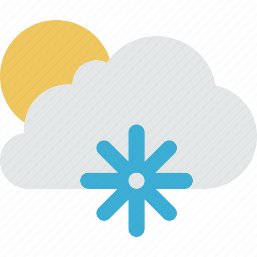 cloud, clouds, cloudy, cold, freeze, snow, sun, weather icon