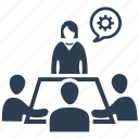 business meeting, conference, discuss, negotiation, team planning icon