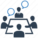 business teem, conference, decision making, discussion, meeting, teem collaboration icon