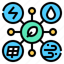 eco, energy, network, power, renewable, system icon