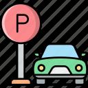parking, area, car, sign