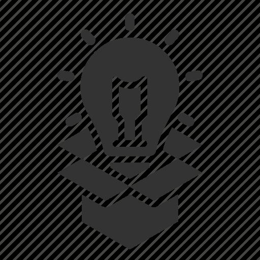 box, innovation, light bulb, open icon