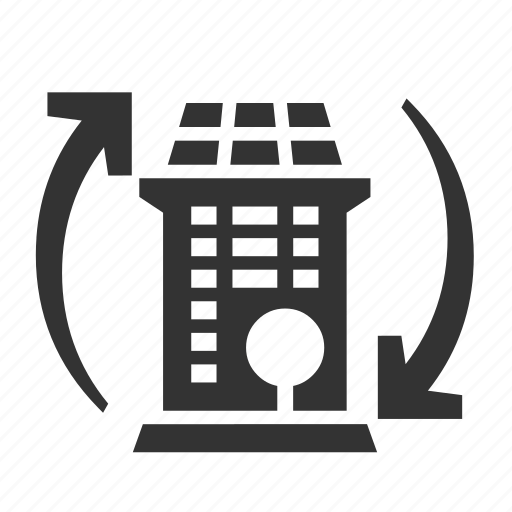autonomous, building, recycling, smart icon