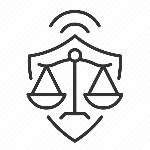 law, order, scales, shield icon
