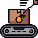 box, conveyor, delivery, orange, package, shipping, transport icon
