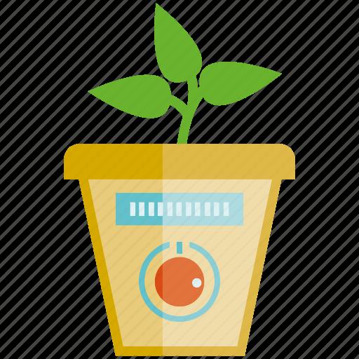leaves, plant, pot, seed, sensor icon