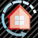 arrow, home, home automation, house, smart home icon