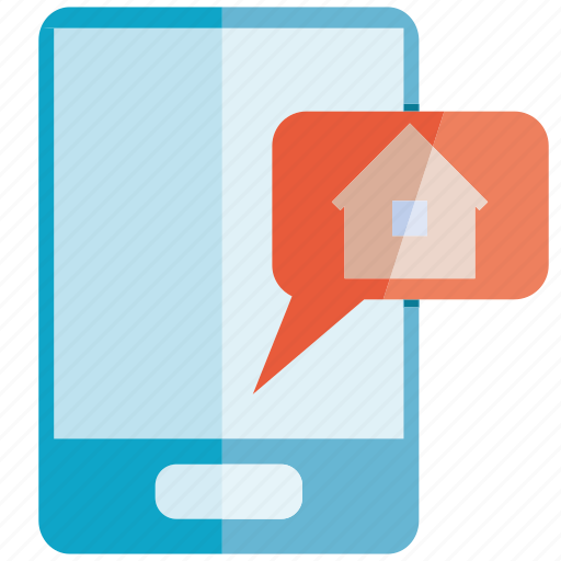 alert, home, home automation, message, mobile, phone, smart home icon