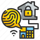 security, finger, electronic, fingerprint, crosshair, technology, scan icon