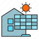 energy, home, house, power, solar, solar panel, sun icon