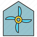 energy, home, house, turbine, wind icon