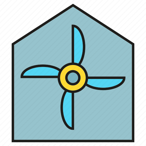 energy, home, house, turbine, wind icon