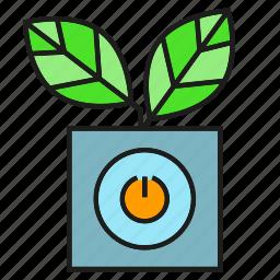 automation, leaves, plant, pot icon