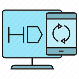 gadget, mobile, phone, sync, television, tv icon