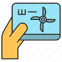 energy, hand, monitor, power, tablet, turbine, wind icon