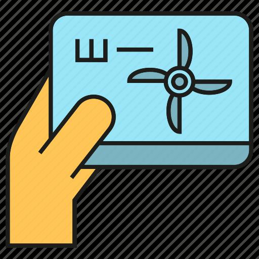 energy, hand, monitor, power, tablet, turbine, wind icon