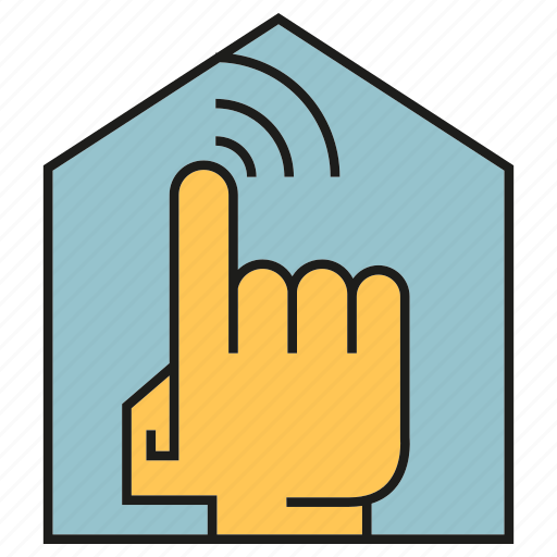 finger, home, house, smart home, touch icon