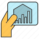 chart, data, hand, smart home, tablet icon