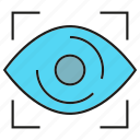 eye, eye scan, identification, iris scan, security, sensor icon