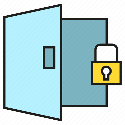door, key, lock, security icon