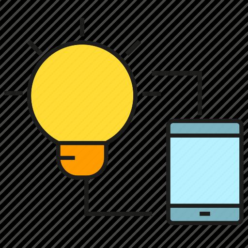 control, light bulb, mobile, phone, sync icon