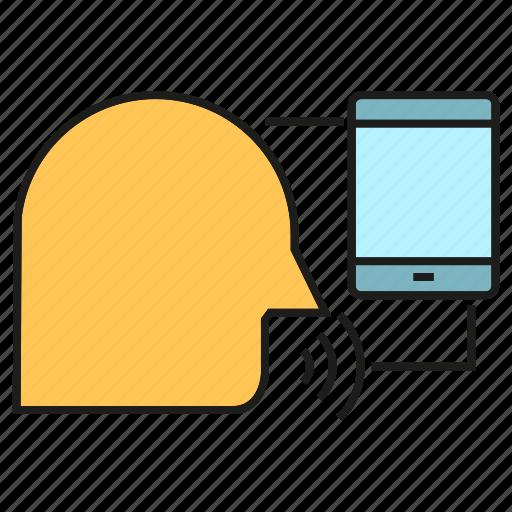 head, mobile, phone, speak, voice control icon
