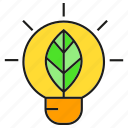 bulb, eco, electricity, energy, leaf, light icon