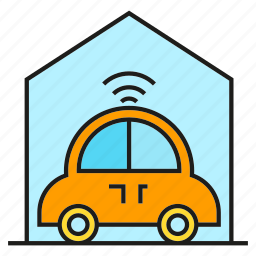 garage, house, smart car, vehicle icon