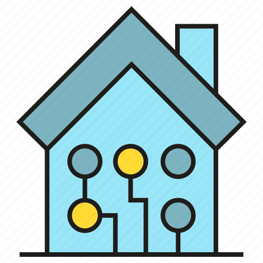 circuit, electricity, home, house icon