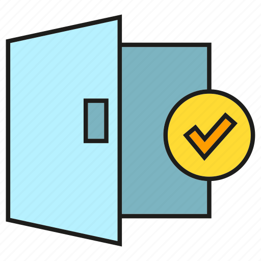 check, door, home, house, security, tick icon