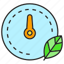 eco, gauge, leaf, measure, scale icon