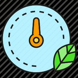 eco, gauge, leaf, measure, scale icon