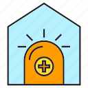 alert, caution, home, house, light, warning icon