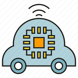 chip, electric car, microchip, smart car, vehicle icon