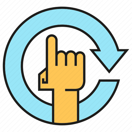 arrow, finger, hand, reset, touch icon