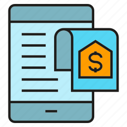 mobile, money, payment, phone, receipt icon