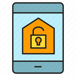 key, lock, mobile, phone, remote, security, smart home icon