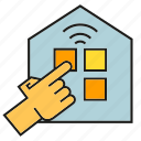 finger, hand, home automation, house, smart home, touch icon