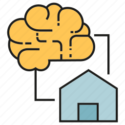 brain, home, house, intelligence, smart home, sync icon