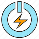 bolt, electricity, energy, power, reset, start icon