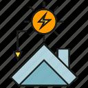 electricity, energy, house, power, roof, solar, sun icon